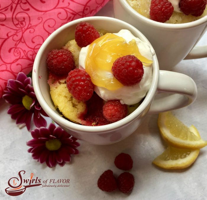 Raspberry Lemon Mug Cake