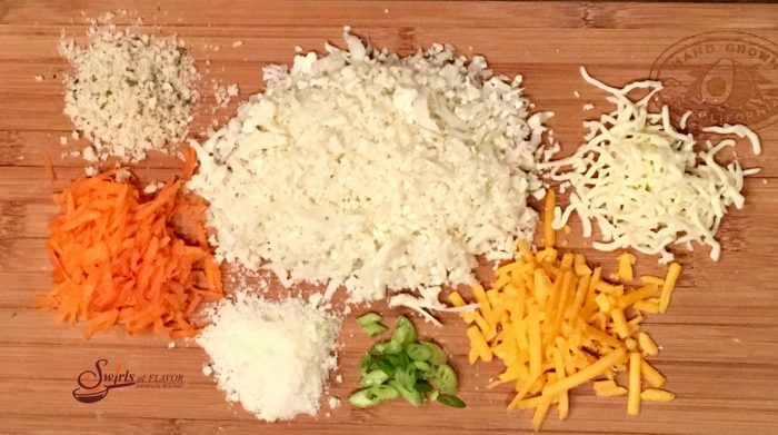 Mozzarella, cheddar and Parmesan cheeses combine with cauliflower rice for a mega punch of flavor in Three Cheese Cauliflower Rice Patties! cauliflower | cheese | cauliflower rice | over roasted | cheese | three cheese | cheddar | mozzarella | Parmesan | vegetable | nutrition | kid friendly