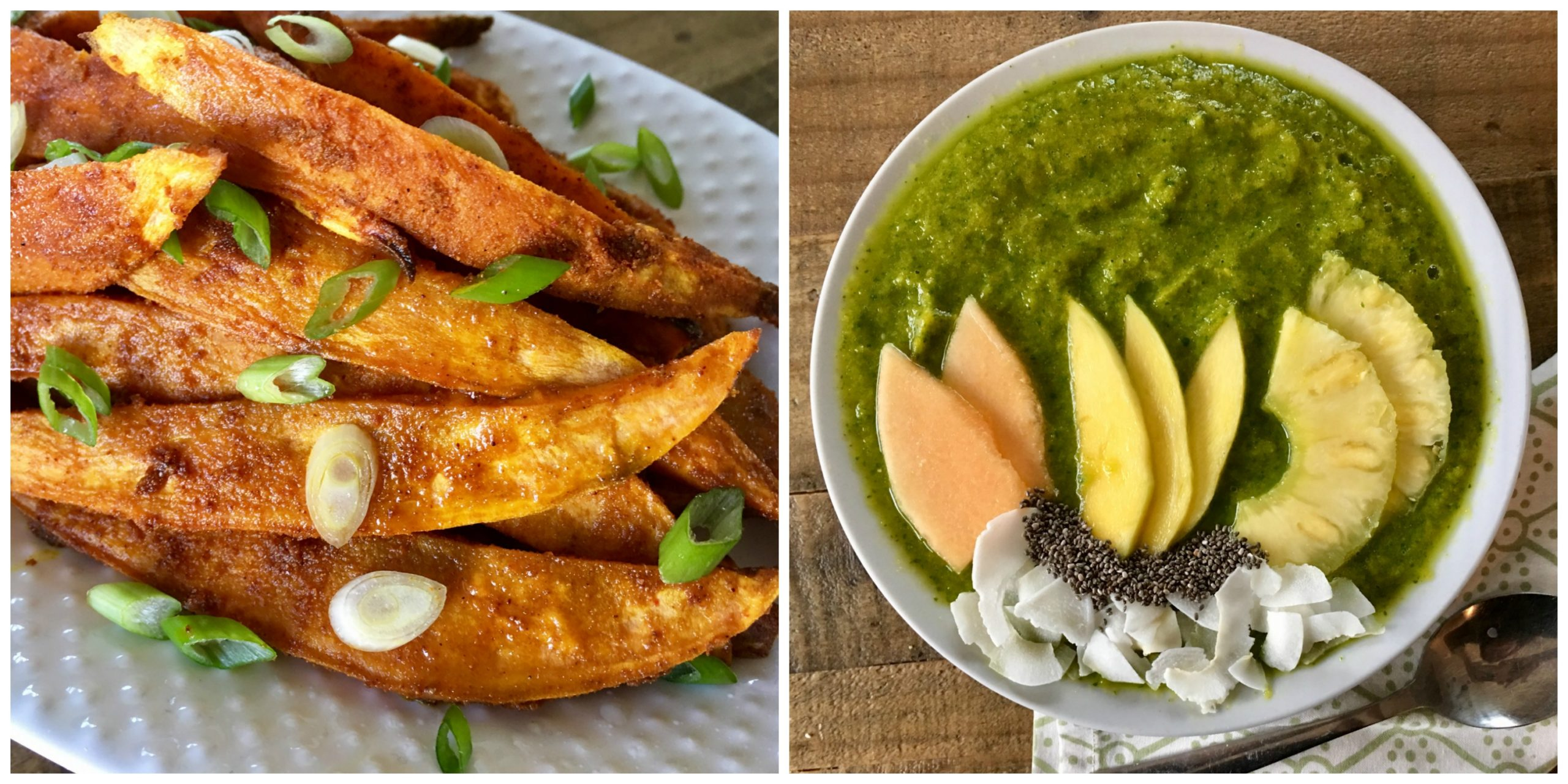 Sweet Potato Fries and Turmeric Smoothie Bowl