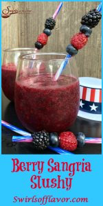 Berry Sangria Slushy is an easy frozen drink recipe with just two ingredients. A bottle of sangria and your favorite frozen berries whirl up into a childhood summertime beverage with an adult twist!