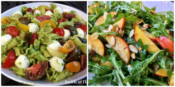 Pasta Salad and Peach Arugula Salad