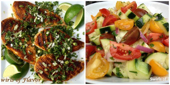 Chili Spiced chicken With cilantro Lime Gremolata and Cucumber Tomato Salad