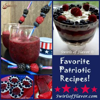Everyone loves Red White and Blue recipes on your patriotic celebration table! Berry Sangria Slushy. Red White 7 Blueberry Trifle, No-Bake Berry Tartlets and Blueberry Pomegranate Ice Pops are all-time favorites! ice pops, trifle, berry, wine slushy, no-bake, tartlets