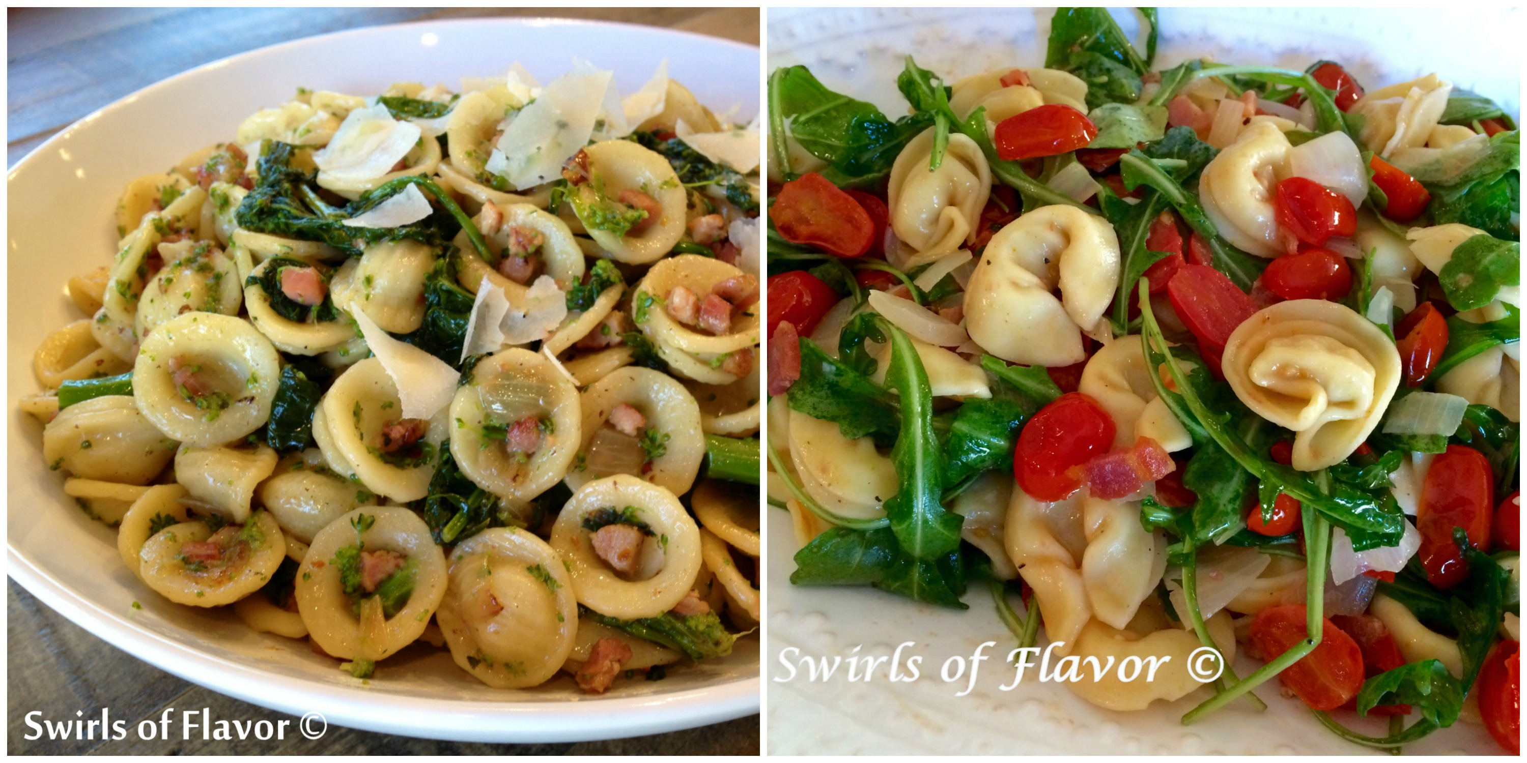 Broccoli Rabe Pancetta Pasta and and tortellini Pasta with Tomatoes