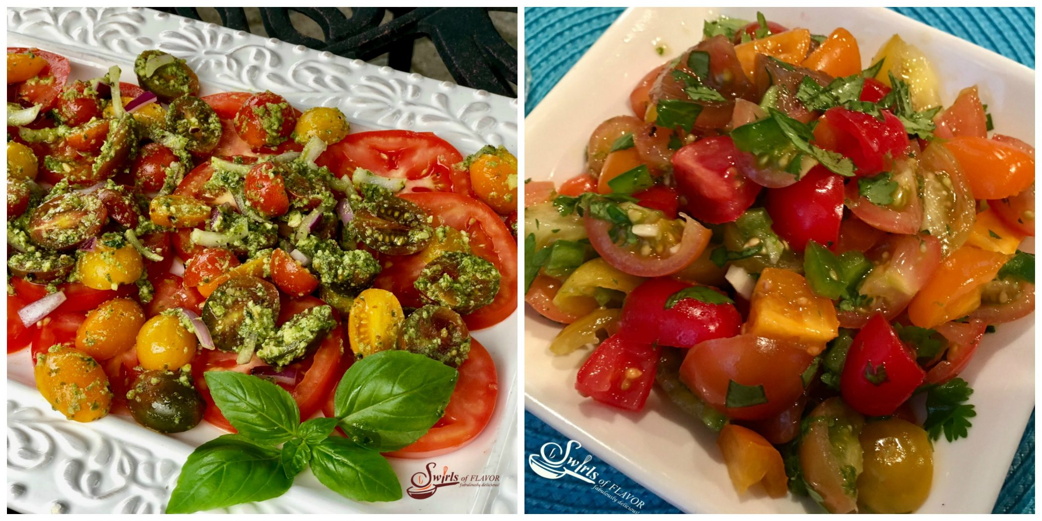 Tomato Pesto Salad and Heirloom Tomato Salsa
