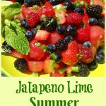 Jalapeno Lime Summer Fruit Salad is a homemade fruit salad that's bursting with sweet juicy berries and watermelon, fresh mint, zesty lime and a hint of jalapeno heat! An easy side dish for a picnic, barbecue or potluck.