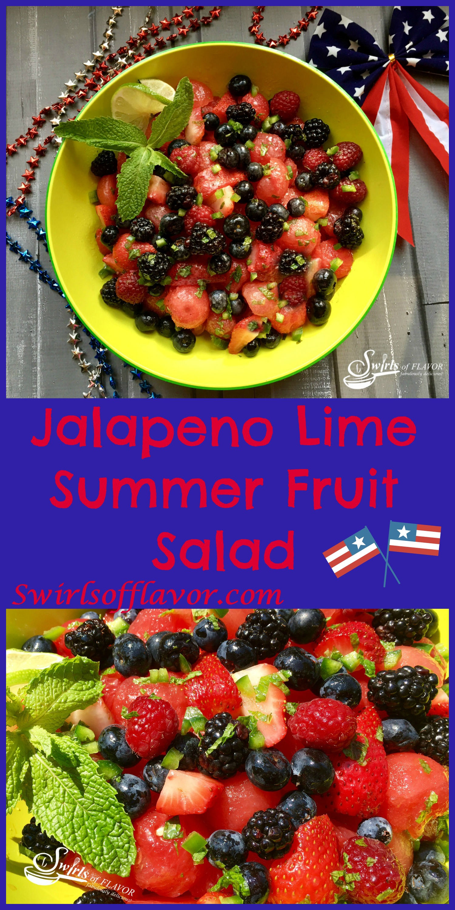 Jalapeno Lime Summer Fruit Salad is bursting with sweet juicy berries and watermelon, fresh mint, zesty lime and a hint of jalapeno heat! strawberry | blueberry | raspberry | blackberry | berry | watermelon | summer fruit | salad | brunch | picnic | barbecue | lime | mint | easy recipe | summer fruit | fruit salad | #swirlsofflavor