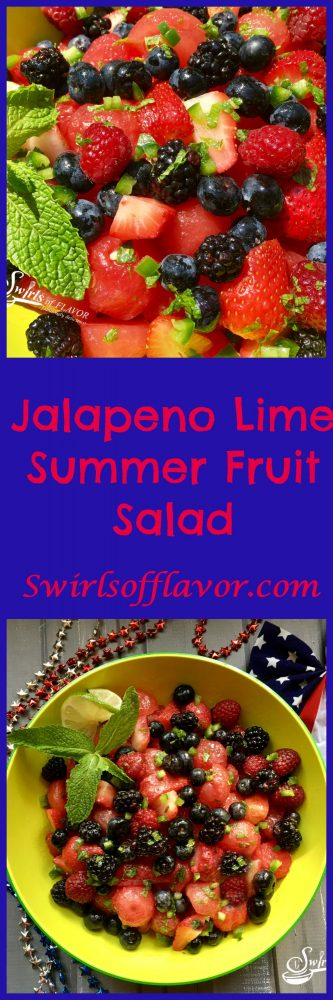 Jalapeno Lime Summer Fruit Salad is bursting with sweet juicy summer fruits, fresh mint, zesty lime and a hint of jalapeno heat! strawberry | blueberry | raspberry | blackberry | berry | watermelon | summer fruit | salad | brunch | picnic | barbecue | lime | mint