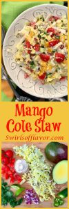Mango Cole Slaw is a light creamy cole slaw with a tropical twist. Delicious as a side dish, on tacos, a burger or a sandwich! cole slaw | mango | mayonnaise | side dish | picnic | barbecue | potluck