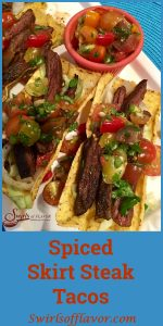 Seasoned slices of juicy skirt steak are nestled in a crunchy corn shell and topped with a lime-scented fresh heirloom tomato salsa. tacos, Taco Tuesday, steak tacos, Cinco de Mayo, grilling, fresh salsa