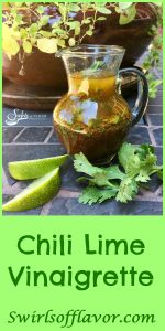 This homemade Chili Lime Vinaigrettewill have your taste buds dancing as thefresh tangy flavor of lime combines with a hint of chilispice! vinaigrette | chili powder | lime | cilantro | salad dressing | homemade