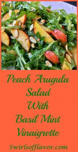 Peach Arugula Salad With Basil Mint Vinaigrette is bursting with summer flavors of juicy peaches, fragrant basil and fresh mint! peach | almonds | salad | arugula | basil | mint | vinaigrette