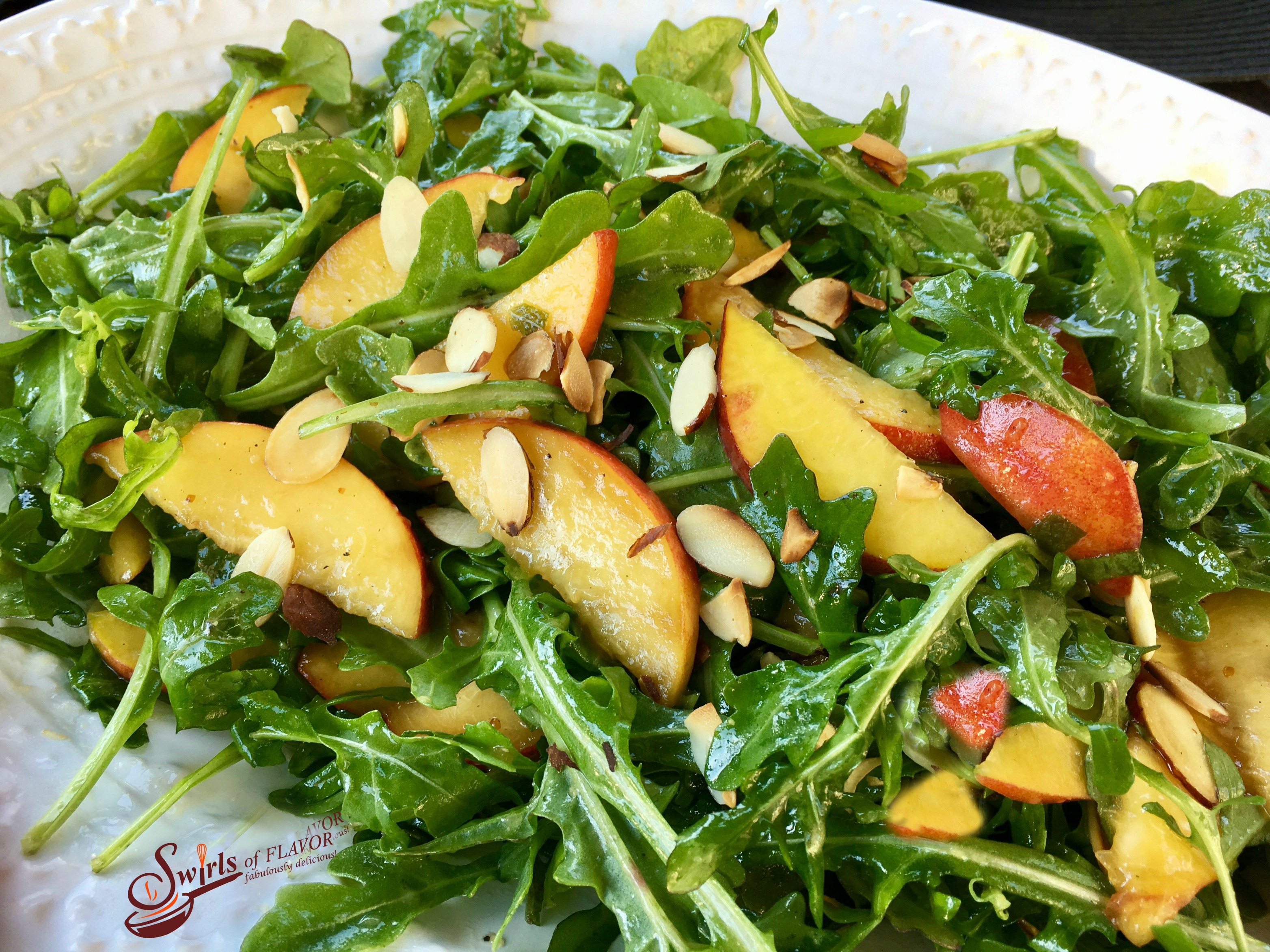 Peach Arugula Salad With Basil Mint Vinaigrette - Swirls ...