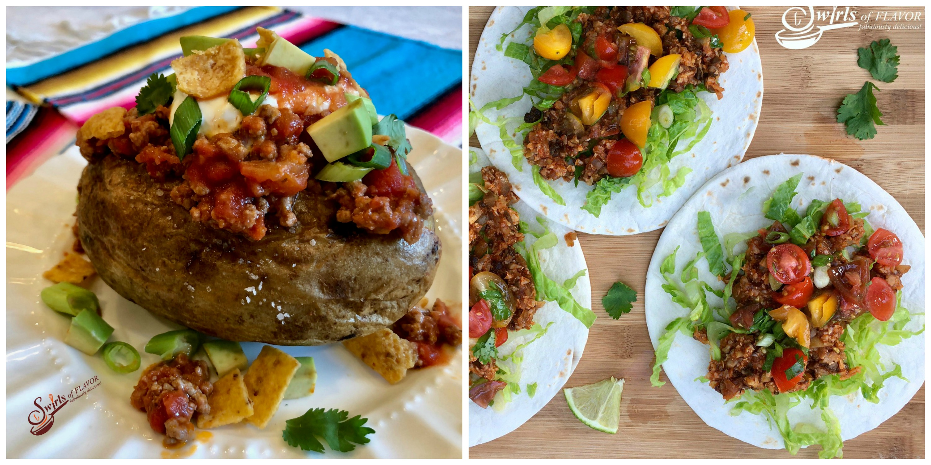 Taco Stuffed Potato and Cauliflower Tacos