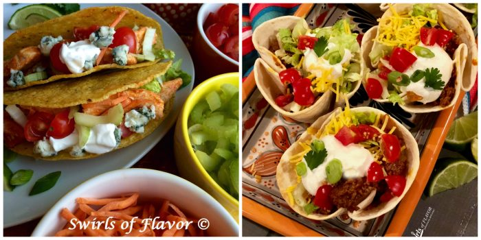 Buffalo Chicken Tacos and beef Taco Cups