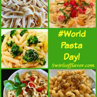 October 25th is World Pasta Day! Swirls of Flavor has lots of pasta recipes for you from Homemade Pasta to Penne & Broccoli, Mac 'N Cheese and more! pasta | homemade pasta | penne | macaroni and cheese | dinner