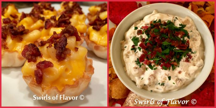 Bacon Mac 'N Cheese Bites and Bacon & Caramelized Onion Dip because everything's better with bacon!