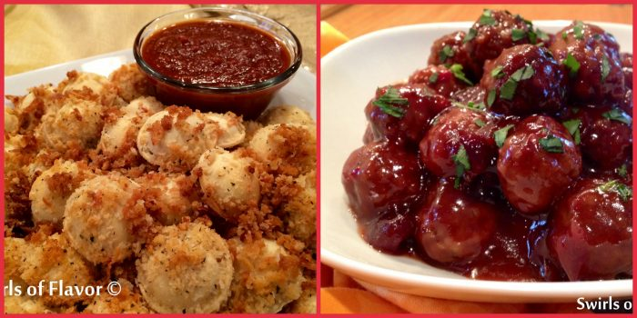 Baked Ravioli Bites and Cranberry Meatballs are the perfect combination of appetizers for your next get together!