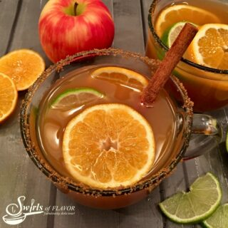 mug of warm spiked apple cider