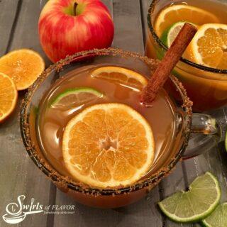 mug of warm spiked apple cider