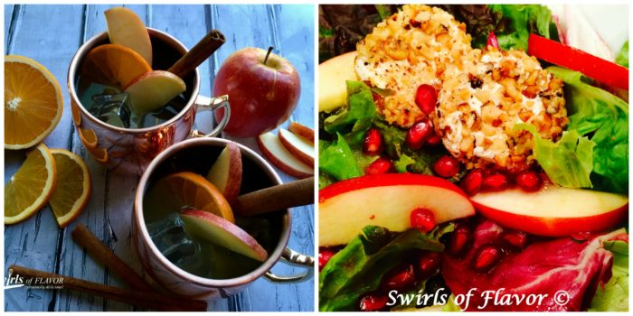 apple Cider Moscow Mule and Mixed Greens Salad