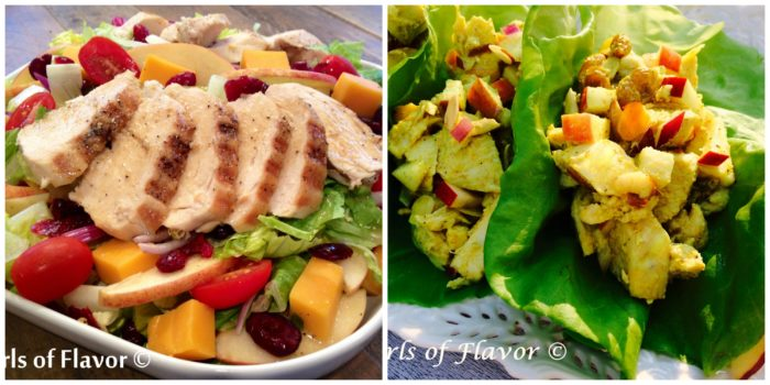 Apple Cheddar Salad and Chicken Lettuce Wraps