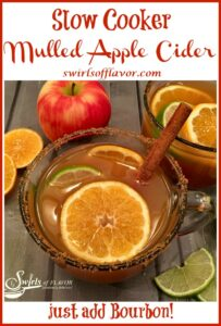 apple cider in mug with text overlay