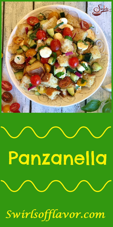 Panzanella is the classic Tuscan bread salad bursting with heirloom tomatoes, cucumber, mozzarella and fresh basil! bread salad | summer | fresh produce | tomato salad | bread salad | easy recipe | #swirlsofflavor | leftover bread