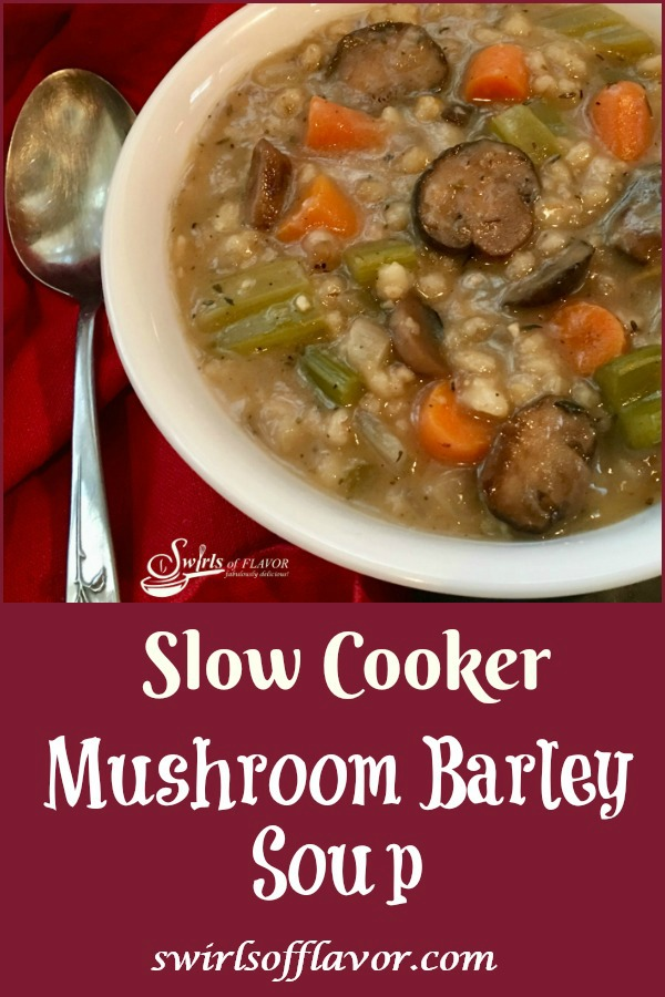 Slow Cooker Mushroom Barley Soup is bursting with tender mushrooms, carrots, celery and onions complimented with bits of barley in a perfectly seasoned broth. Let your slow cooker do the work for you with this easy beef mushroom barley slow cooker recipe for dinner tonight! #slowcooker #soup #mushroom #barley #homemadesoup #easyrecipe #dinner #comfortfood #crockpot #swirlsofflavor