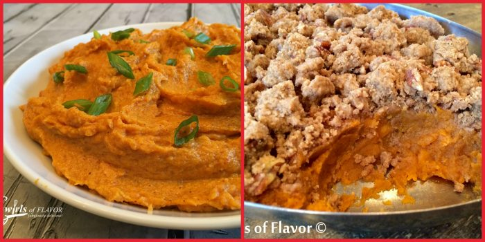 Everyone loves sweet potatoes especially when they're topped with a sweet pecan crumb or extra creamy with a hint of spice!