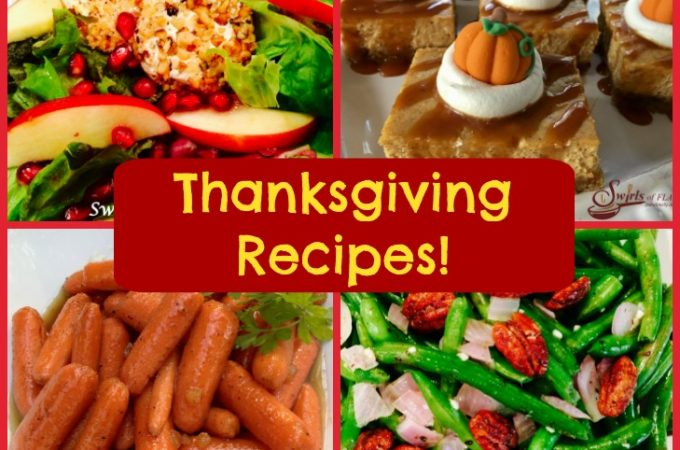 Over thirty fabulously delicious recipes for your Thanksgiving holiday table from drinks to appetizers, salads, vegetables, potatoes, turkey, gravy and desserts!