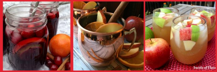 Apple Cider Sangria, Cranberry Sangria and Apple Cider Moscow Mules are perfect choices for your holiday libations at Thanksgiving and Christmas! drinks | cocktails | sangria | Moscow mule | holiday