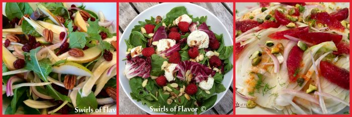 Start your holiday meal with a refreshing salad! Pecan Pear, Raspberry Almond or Pistachio Blood Orange! They will all impress your guests!