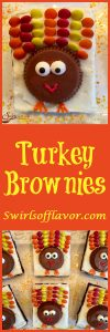 Turkey Brownies are an easy recipe for a rich fudgy homemade brownie topped with a creamy vanilla buttercream and turkeys made of candy! So much fun to make and eat! Turkey Brownies are guaranteed to become a holiday tradition! #homemadebrownies #candyturkeys #turkeybrownies #dessert #easy recipe #funforkids #holiday #Thanksgiving #swirlsofflavor