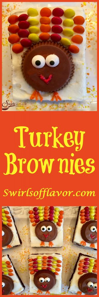 A rich fudgy homemade brownie is topped with a creamy vanilla buttercream.....and candy turkeys. So much fun to make and eat! Turkey Brownies are guaranteed to become a holiday tradition!