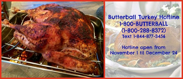 Keep the Butterball Turkey Hotline number handy this holiday season because you never know when you'll need it! 1-800-BUTTERBALL