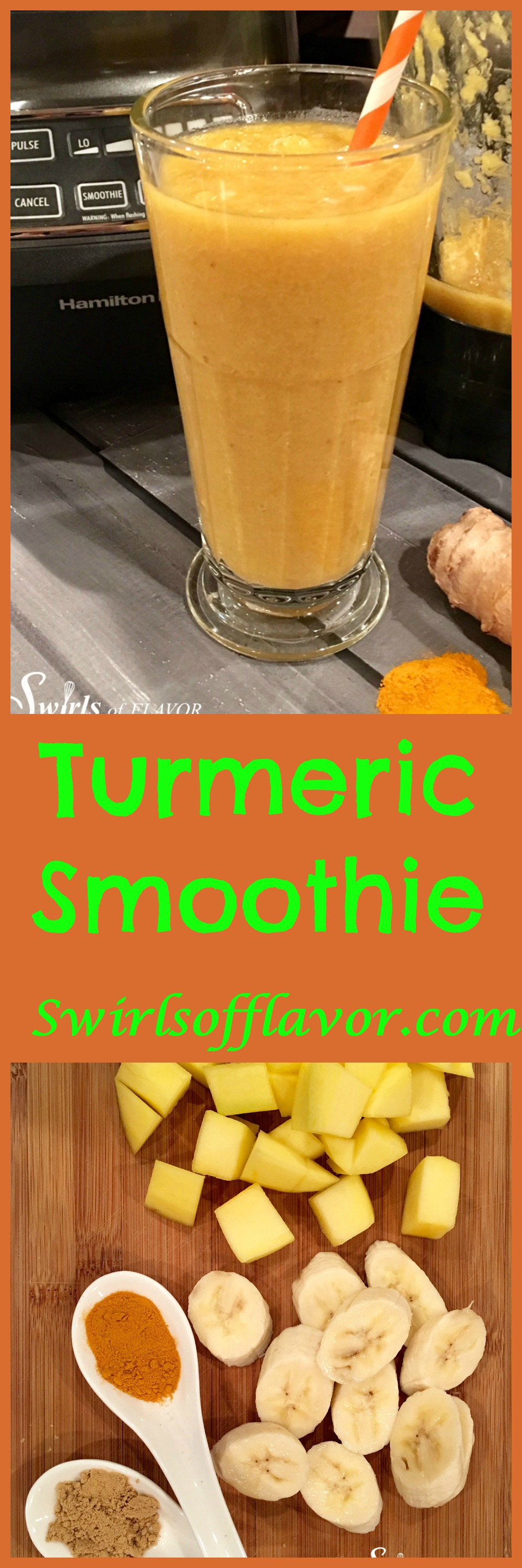 Turmeric Smoothie, golden in color, bursting with fresh fruit flavors and brimming with amazing health benefits, is a great way to start your day!. turmeric | ginger | mango | banana | smoothie | healthy | breakfast | drink | #swirlsofflavor