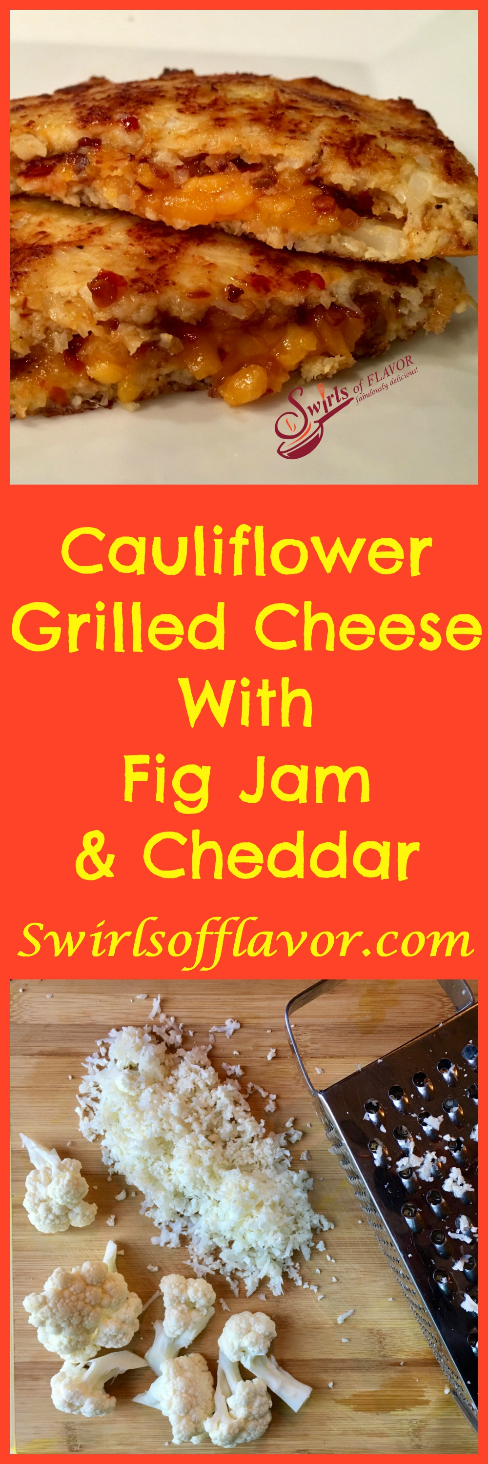 Cauliflower Grilled Cheese With Fig Jam & Cheddar starts with cauliflower bread and is brimming with melty cheddar cheese and warm sweet fig jam. cauliflower bread | low carb | brunch | lunch | sandwich | Mealess Monday | vegetarian | #swirlsofflavor