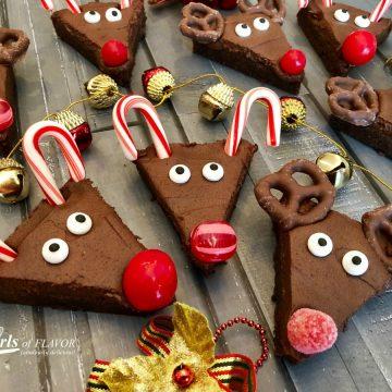 triangle shaped reindeer brownies