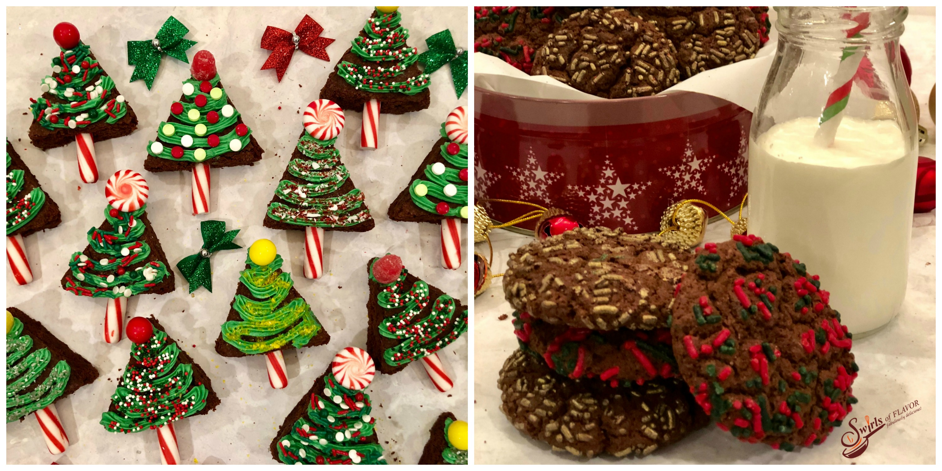 christmas Tree Brownies and Double Chocolate Cookies