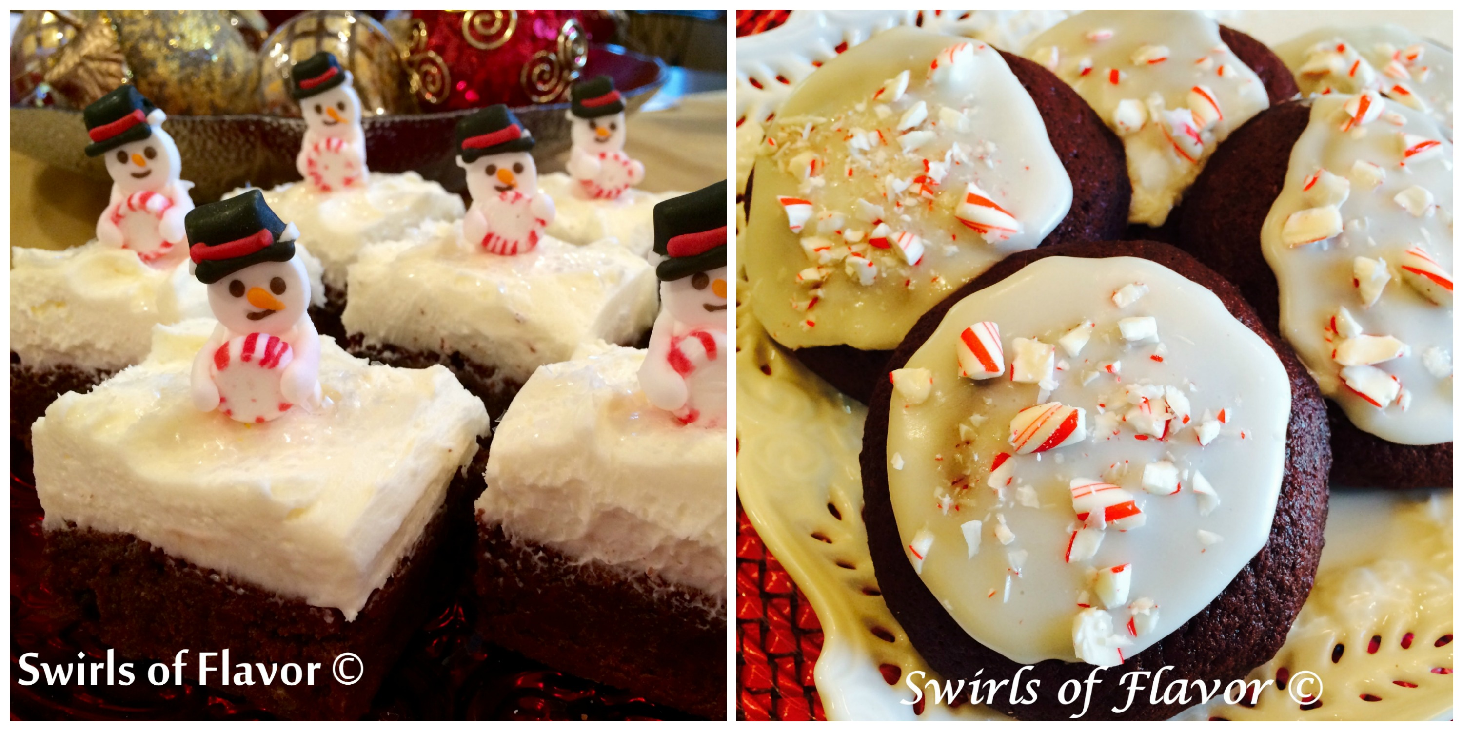 Snowmen Brownies and Red Velvet Crunch Cookies