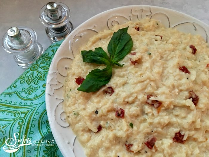 Three Cheese Cauliflower Risotto takes the time-consuming stirring out of risotto, cauliflower rice makes it healthier and three cheeses make a silky sauce. cauliflower   risotto   cauliflower rice   vegetarian   easy   Meatless monday   side dish   main dish   entertaining