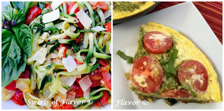 Zucchini Noodles Pomodoro and Zucchini Frittata