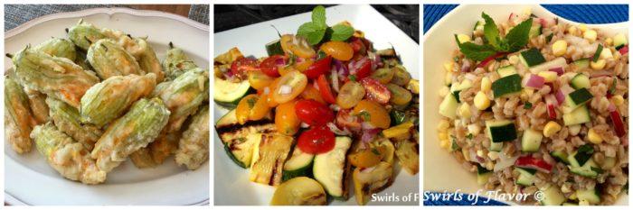 Squash Blossoms, Zucchini Medley and Zucchini Farro