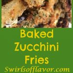 Baked Zucchini Fries bake in the oven with a crispy parmesan panko coating that both kids and adults will love! A healthy alternative to french fries, Baked Zucchini Fries are an easy appetizer recipe or weeknight side dish recipe. Bet you can't eat just one! #zucchini #frenchfries #ovenbaked #healthy #snack #appetizer #sidedish #vegetable #cheese #Parmesan #kidfriendly | #swirlsofflavor