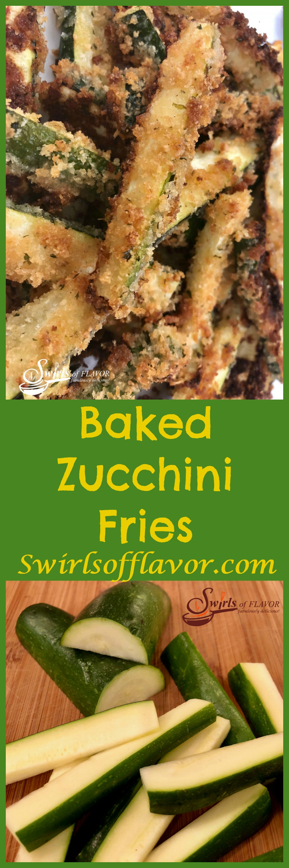 Baked Zucchini Fries, a healthy alternative to french fries, bake in the oven with a crispy parmesan panko coating that both kids and adults will love! Bet you can't eat just one! zucchini | fries | oven baked | healthy | snack | appetizer | side dish | vegetable | cheese | Parmesan | kid friendly | #swirlsofflavor