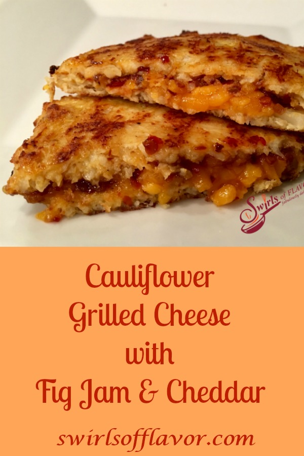 Cauliflower Grilled Cheese With Fig Jam & Cheddar starts with cauliflower bread and is brimming with melty cheddar cheese and warm sweet fig jam. #cauliflower #cauliflowerbread #cauliflowerrice #lowcarb #brunch #grilledcheese #lunch #dinner #sandwich #MealessMonday #vegetarian  #swirlsofflavor