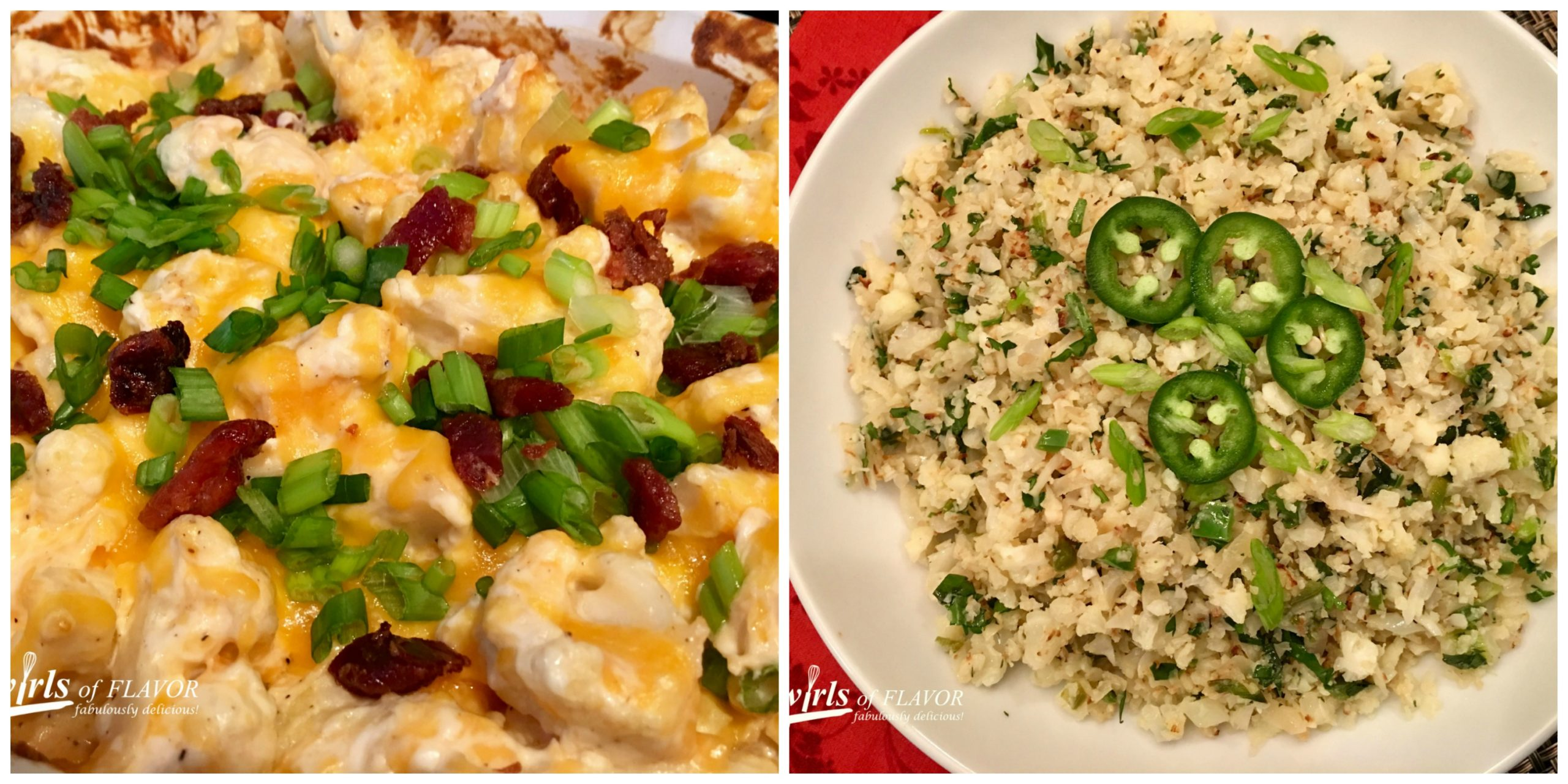 Loaded Cauliflower Casserole and Jalapeno Lime Cauliflower Rice