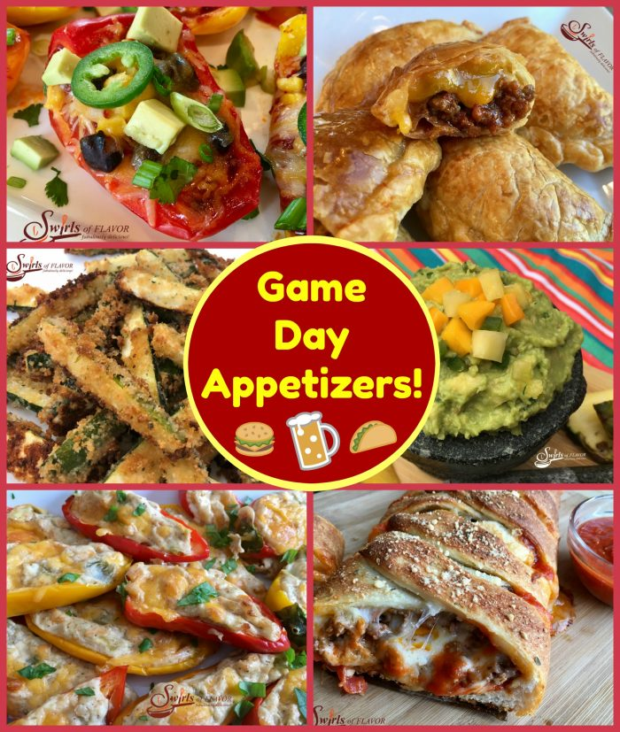 the playoffs are here and the Super Bowl is right around the corner. Time for some lip-smackin' game-watching snacks like Jalapeno Poppers, Pizza Bread, Nachos, Guacamole and Zucchini Fries! Super Bowl | pizza | pizza bread | guacamole | cheeseburger | empanadas | baked fries | zucchini fries | appetizers | snacks | recipe