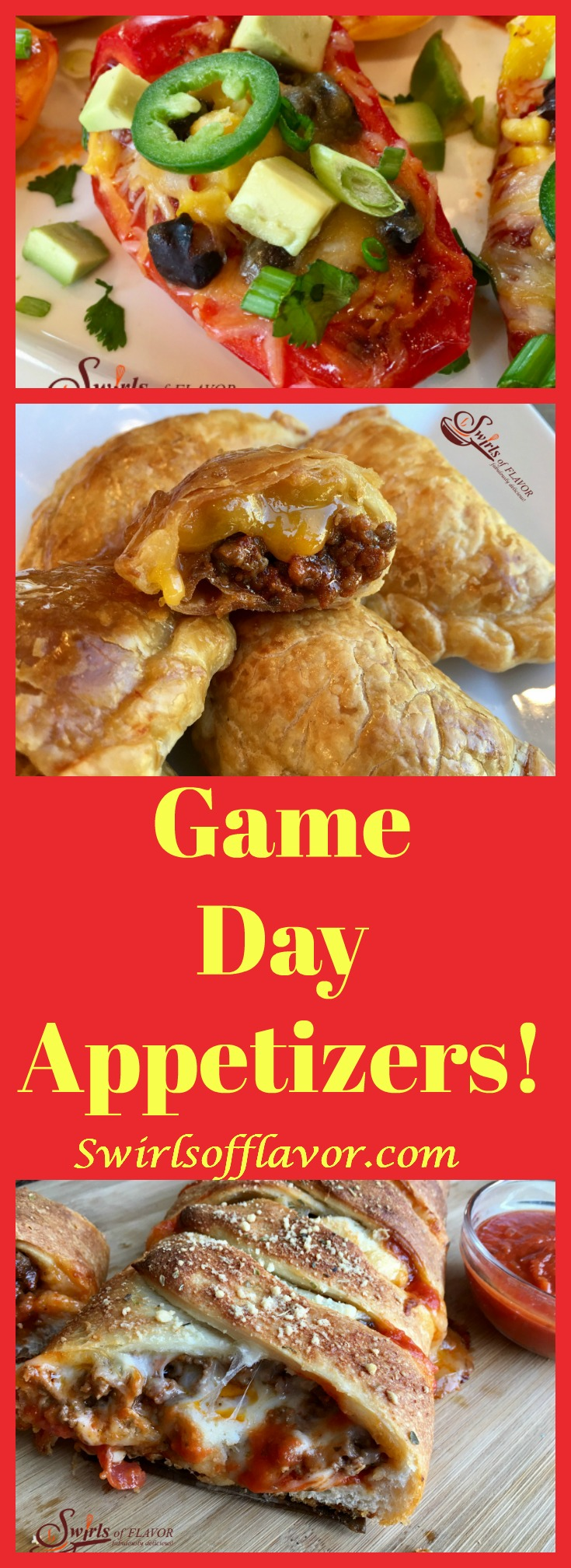 The playoffs are here and the Super Bowl is right around the corner. Time for some lip-smackin' game-watching snacks like Jalapeno Poppers, Pizza Bread, Nachos, Guacamole and Zucchini Fries! Super Bowl | pizza | pizza bread | guacamole | cheeseburger | empanadas | baked fries | zucchini fries | appetizers | snacks | recipe | #swirlsofflavor